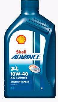 SHELL ADVANCE SCOOTER 4T ENGINE OIL AX7 10W-40 1L, BLUE