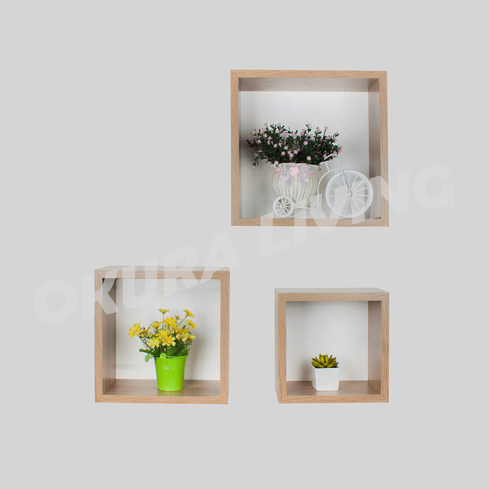 Okura 3 in 1 Square Cube Wall Shelf Decoration for Office Café Showroom Home