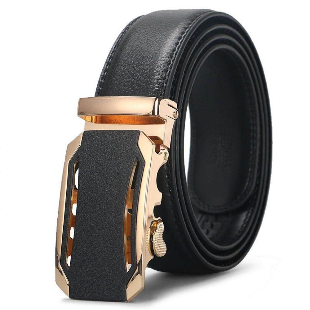 DOULILU Men Genuine Leather Automatic Buckle Waist Belt High Quality Durable Tali Pinggang -MI3402