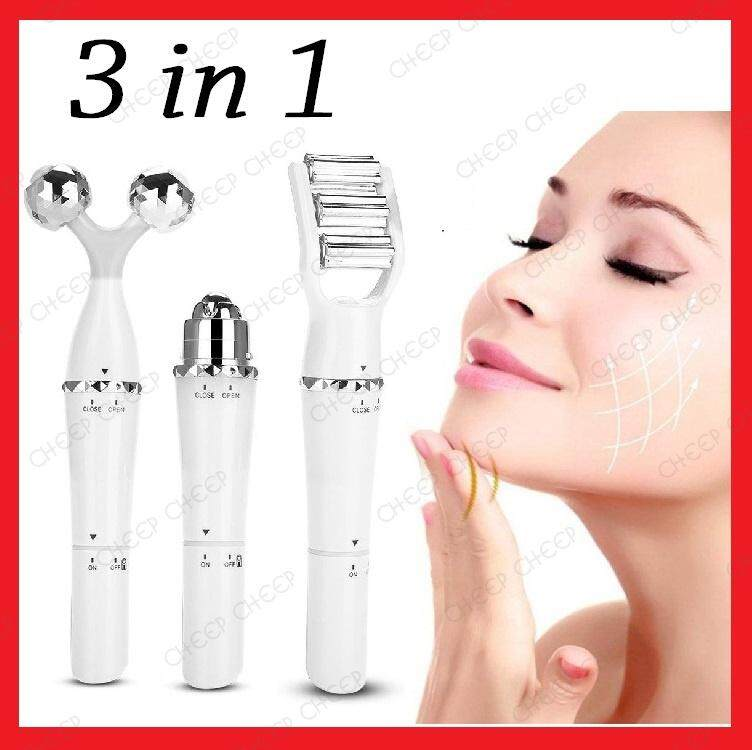 NEW 3in1 3D Face Roller Massager Battery Operated V Face Lifting Eye Puffiness Dark Eye Circle Body Slimming Tool - Premium Version