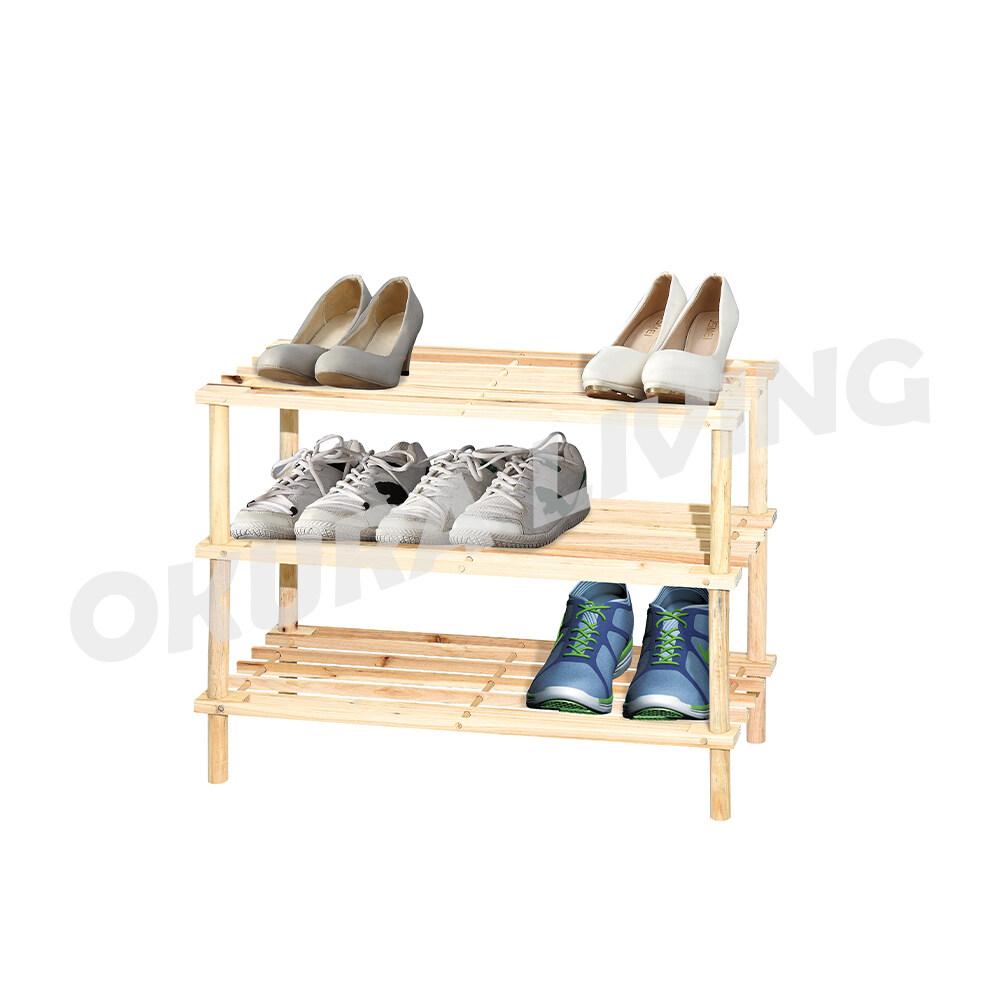 Okura 3 Tier Wooden Shoe Rack / Storage Rak Kasut