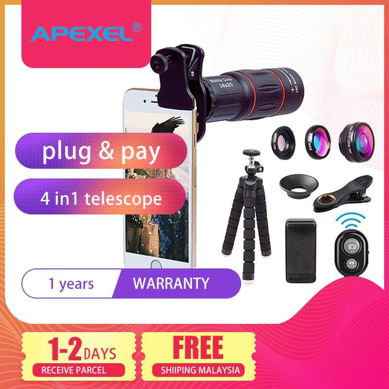 Apexel Multifunction telescope Cellphone camera Lens Kit with mobile holder tripod and Remote Shutter for Smartphone APL-T18XBJZ5 photography handphone huawei P20 P10 P30 Mate Honor Nova oppo vivo xiaomi apple iphone samsung note 9
