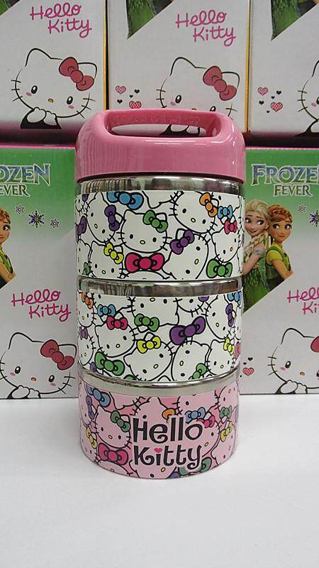 [Ready Stock] 3 Layers Stainless Steel Cartoon Lunch Box (BGJAYA)-Hello Kitty