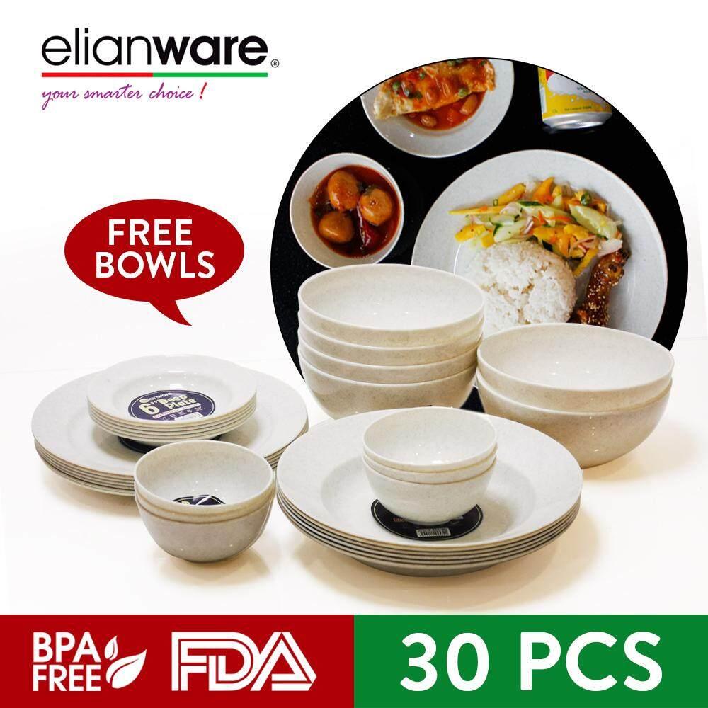 Elianware 30 Pcs Marble Design Dinnerware Set (10  & 7 ) [FREE 12 Pcs Bowls]
