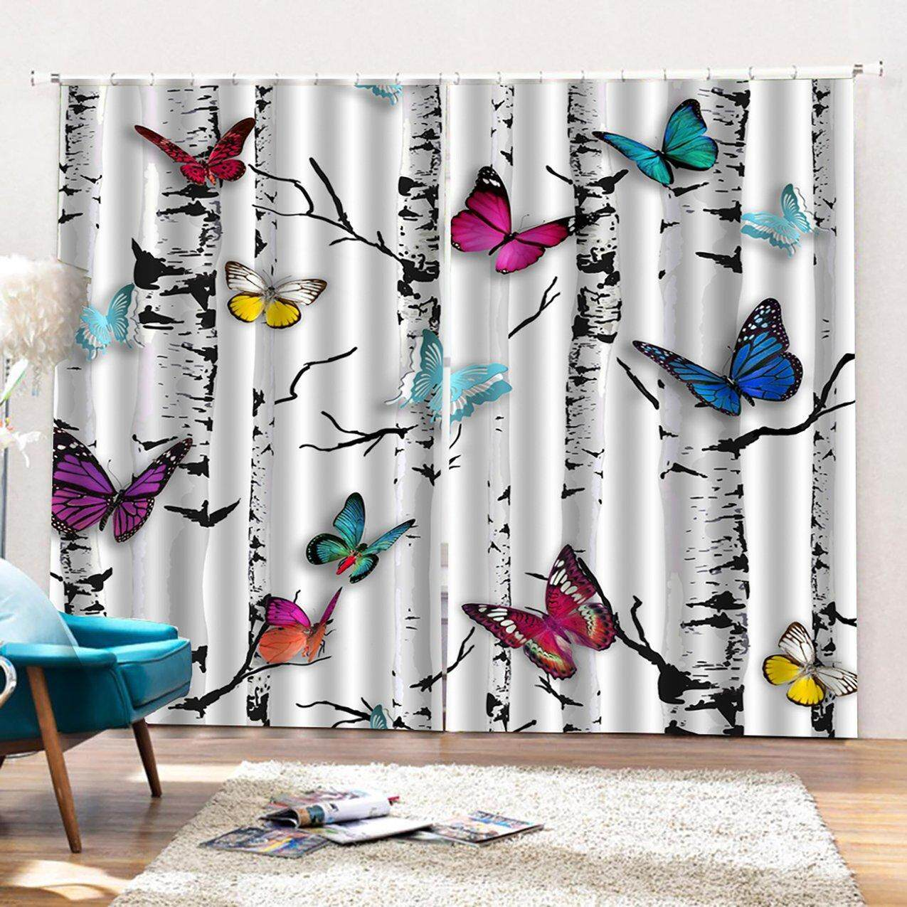 Crazy Sale Colorful Tree Butterfly Curtain Cute Living Bedroom 3d Wolf Curtain 140*100cm Trendy Living Room Bedroom Blackout