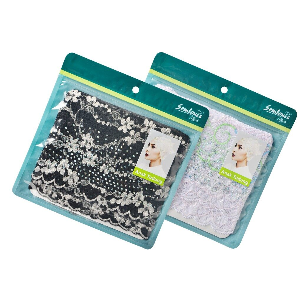 Semlouis 2 in 1 Inner Anak Tudung Lace with Rhinestone - Black / White-Innercap / PKT