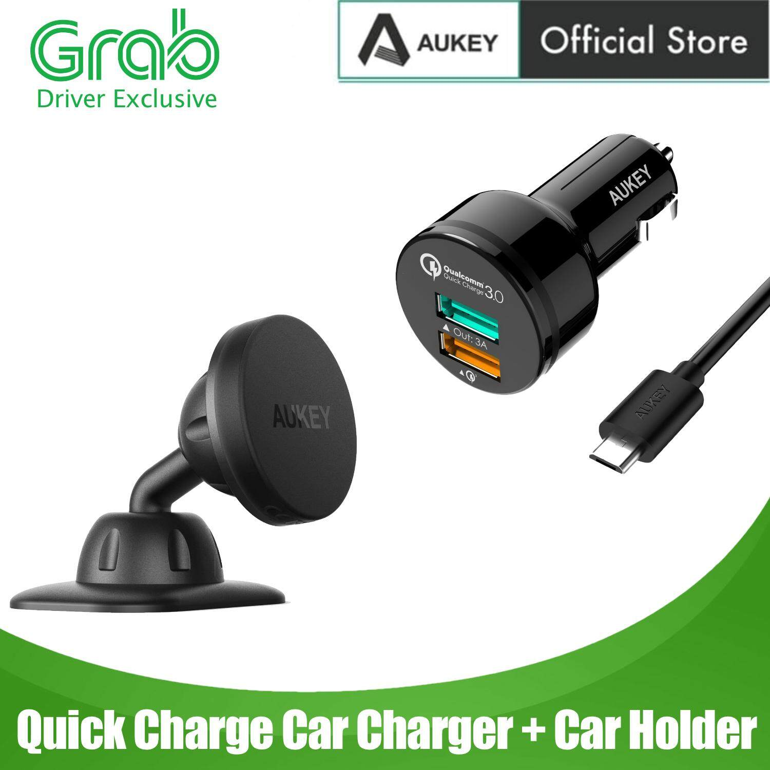 [12.12 Crazy Brand Mega Offers][GRAB DRIVER EXCLUSIVE] [3 IN 1 SET] Aukey CC-T7 Quick Charge 3.0 Car Charger With HD-C13 Magnetic Car Holder