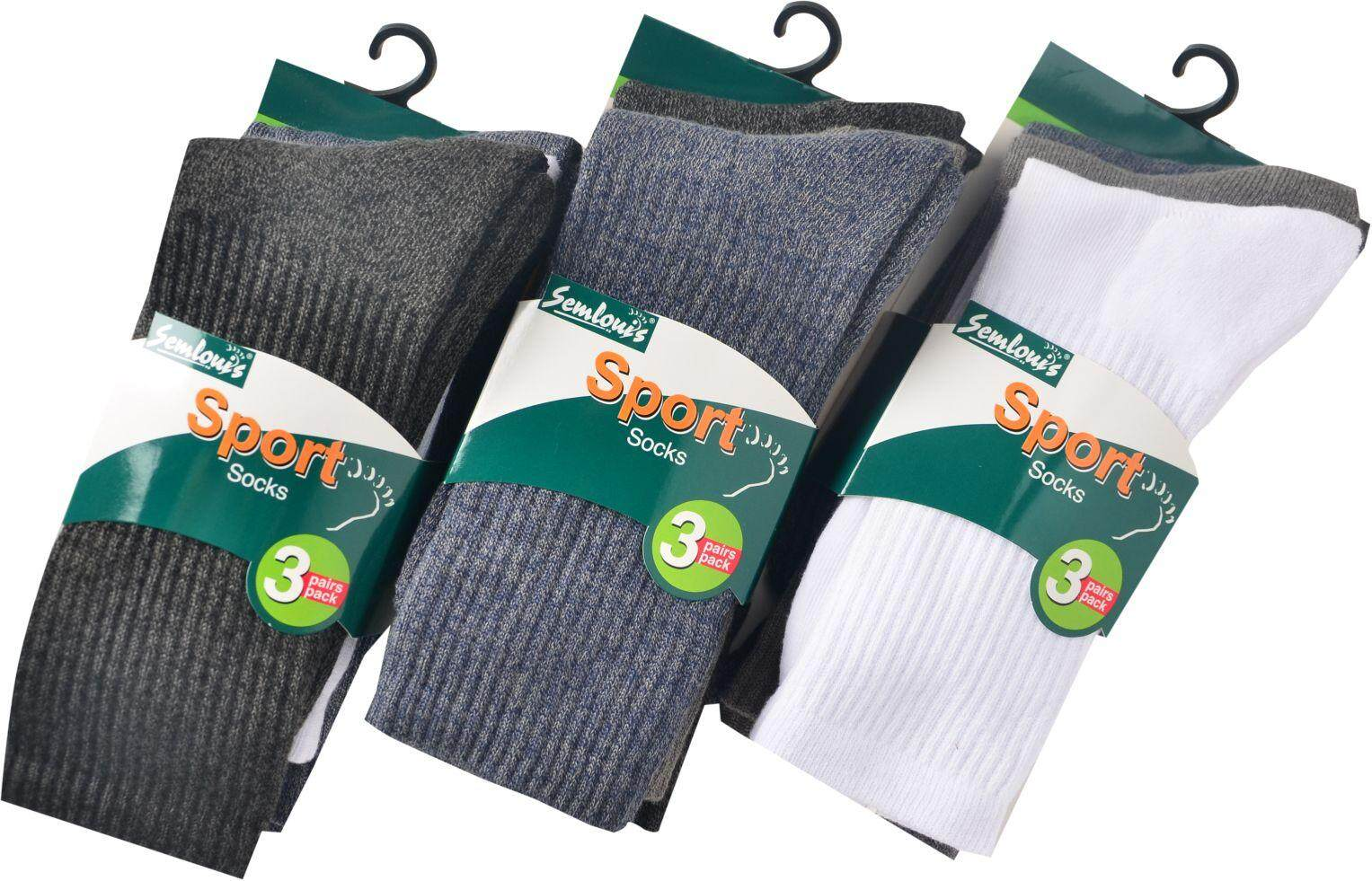 Semlouis 3 in 1 Sport Quarter Crew Cushion Base Socks - Plain / PKT