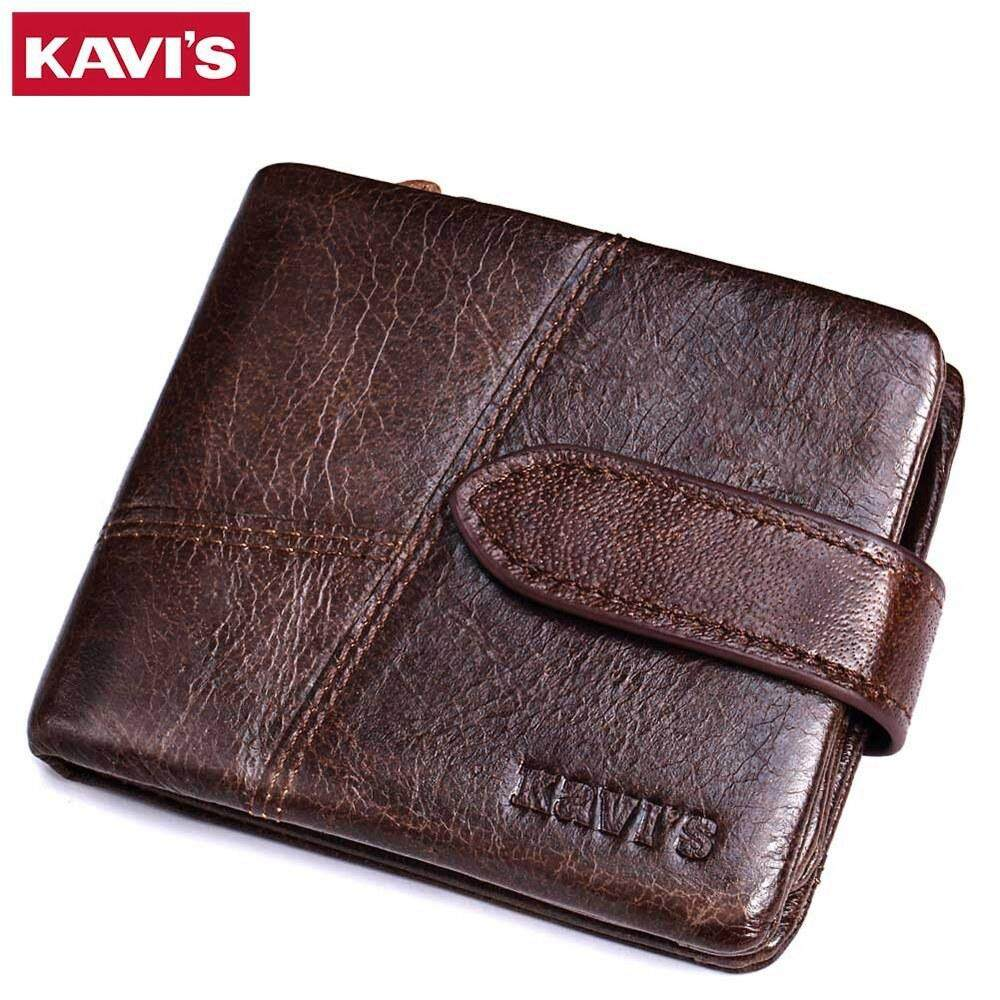 KAVIS Genuine Cowhide Leather Men Wallet Italy Fashion Coin Thin Purse RFID Blocking