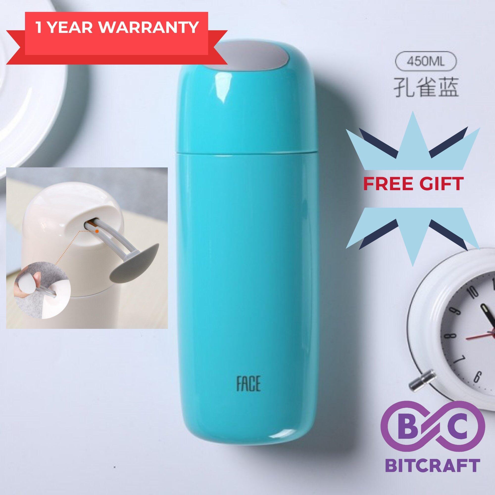 Original FACE Thermos Flask 450mL Korean Style Portable Thermal Vacuum Flask Thermos Bottle Thermos Tumbler Water Bottle FREE GIFT Bitcraft