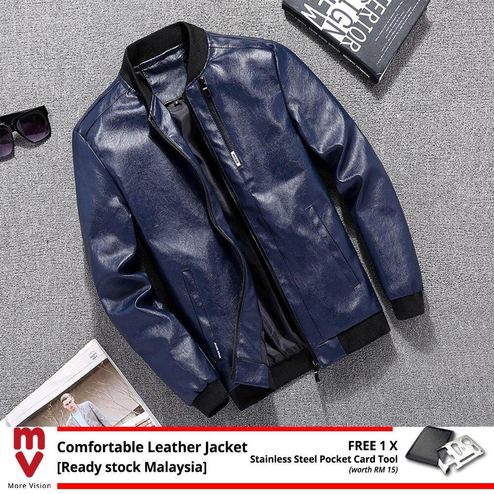 [READY STOCK] Comfortable Leather Jacket Men's Casual New Fashion Style PU for Stylish Man Biker Motorcycle Bomber -MI51906