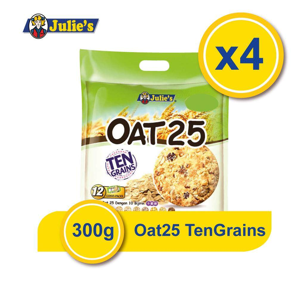 Julie's Oat25 Ten Grains 300g x 4 Packs + Free 5 pack Convi pack Biscuit