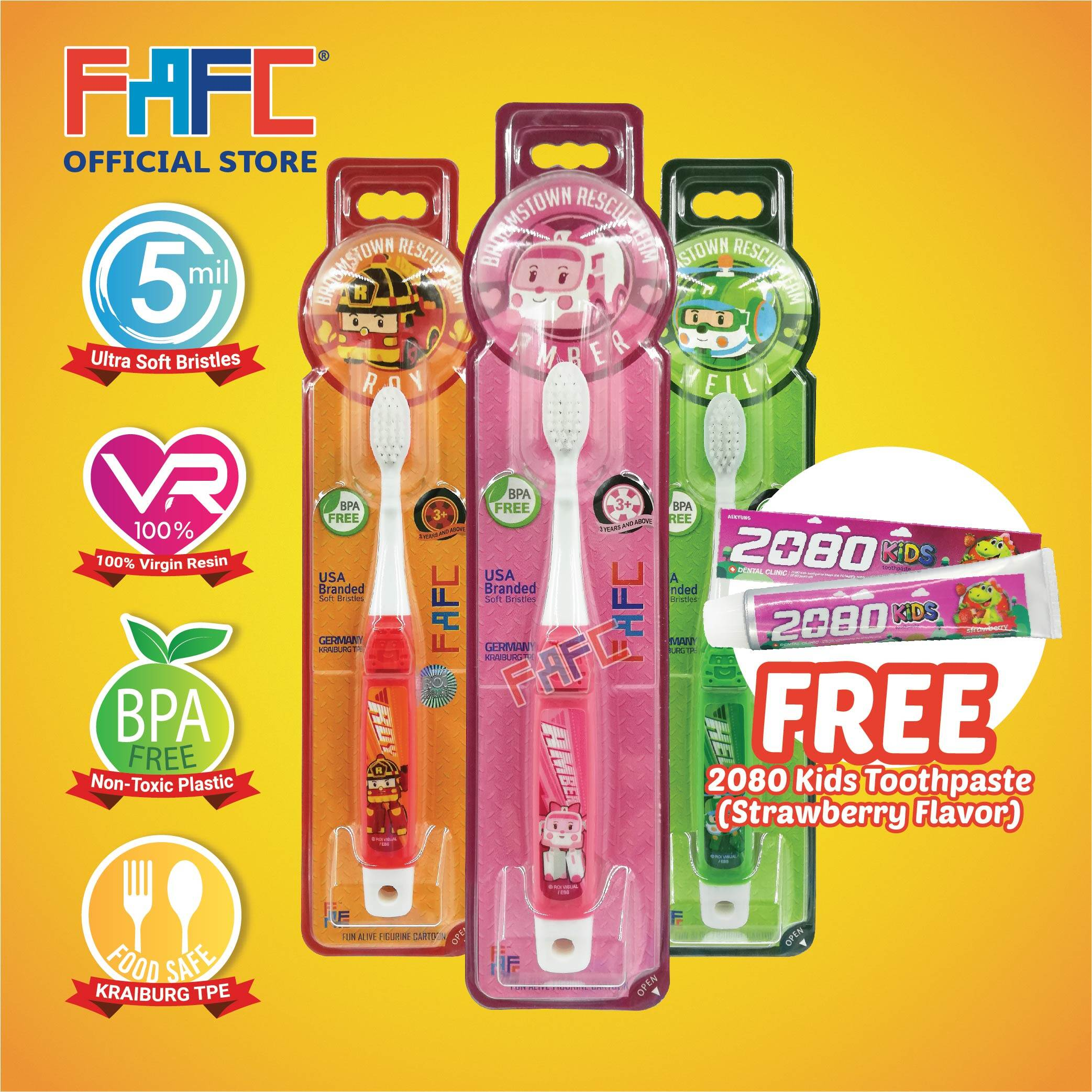 AMBER ROY HELLY - (3 Pcs) FAFC Robocar Poli Hook Kids Toothbrush FREE 2080 Kids Toothpaste (Strawberry Flavor)