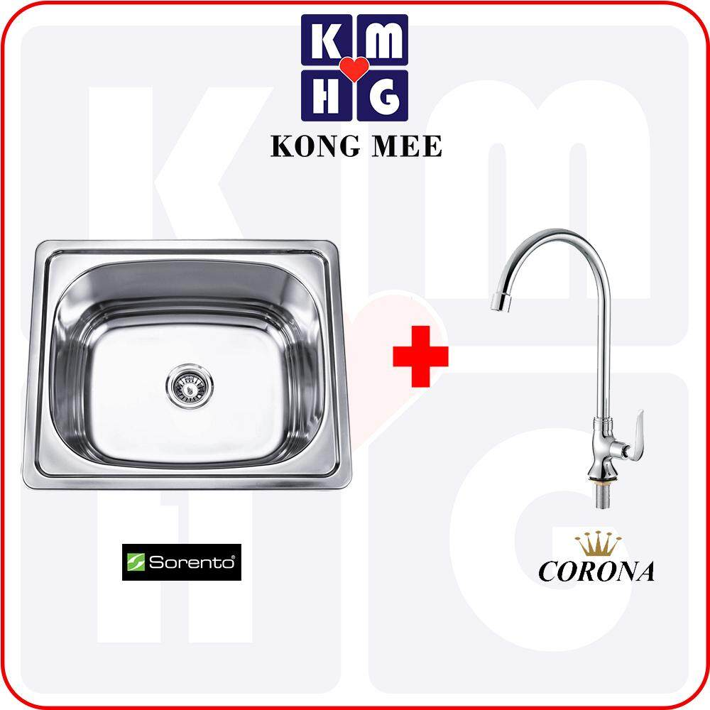 Sorento Italy - Stainless Steel 304 Single Deep Bowl Kitchen Sink (SRTKS6235)  High Quality Premium Home Kitchen Restaurant Basin Faucet