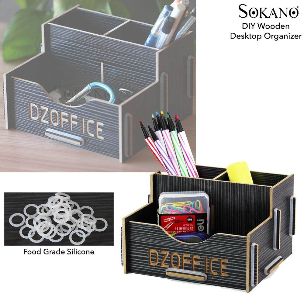 SOKANO DZOFFICE 1028 DIY WoodenTable and Pencil Organizer Dekstop Office Stationery Organizer
