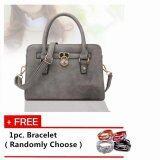 Fashionable Handbag - Sling with Front Metal Plating [Grey] with Free 1pc. Bracelet [Randomly Choose]