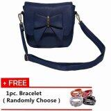 Fashionable Women's Sling Bag with Ribbon Front Closure [Blue] With Free 1pc. Bracelet [Randomly Choose]