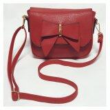 Fashionable Women's Sling Bag with Ribbon Front Closure - Red