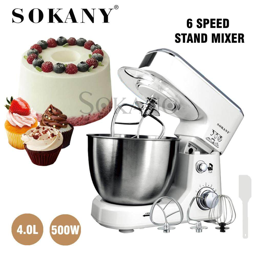 SOKANY SC-209 500W 4L Professional Kitchen Food Stand Mixer 6 speed Stainless steel Bowl Egg whisk-blender dough Mixer-Maker Machine Kitchen Cooking Tools