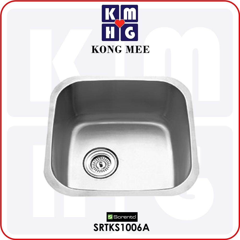 Sorento Italy - Quorra Series Single Bowl Undermount Kitchen Sink (SRTKS1006A) One Basin Stainless Steel 304 Handmade Low Noise Anti Rust Under Mount Modern Restaurant Home Kitchen Eating Food Cook Chef Wash Dishes Water Soap Tap Faucet Cleaning Pipe