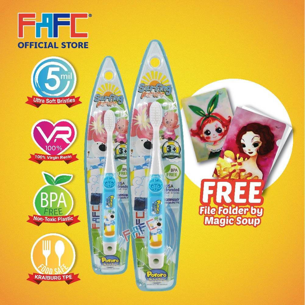 Poby & Poby - (2 Pcs) FAFC Pororo Hook Kids Toothbrush FREE Magic Soup File Folder