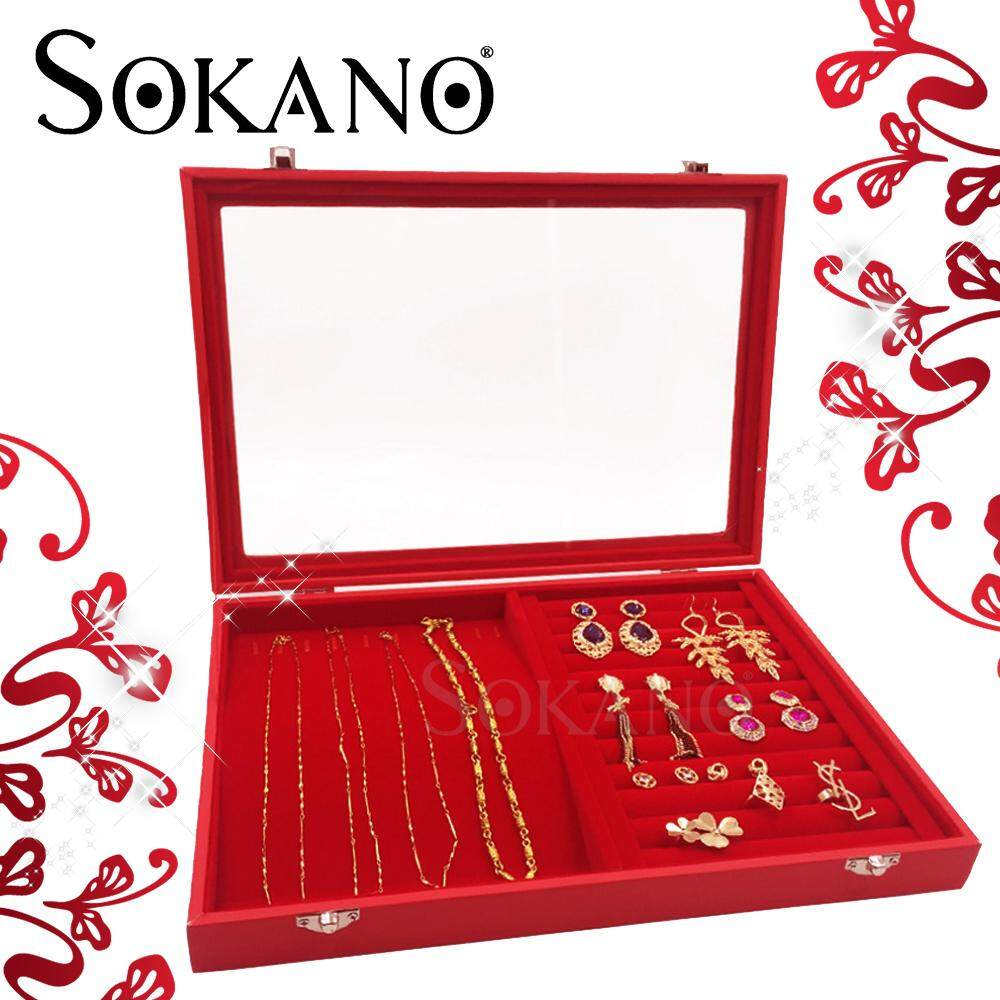 Sokano 2 in 1 PU Leather Jewelry Necklace Rings Display Box Organizer Storage Box