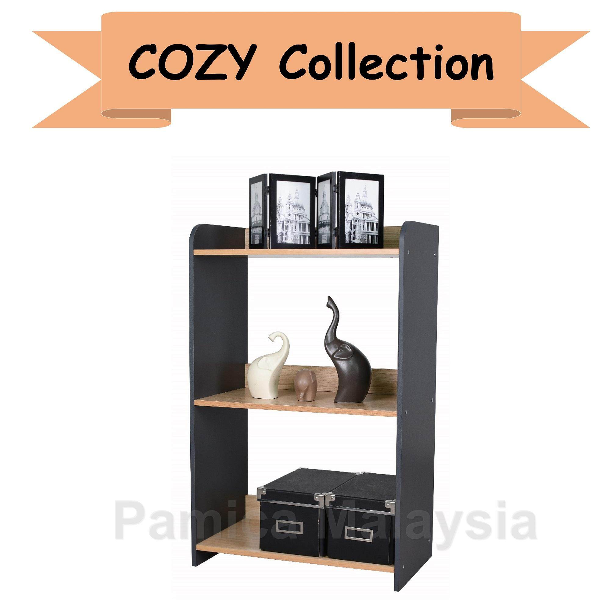 PAMICA SV6071 Cozy 3-Tier Utility Shelf in Oak/Dark Grey Finished