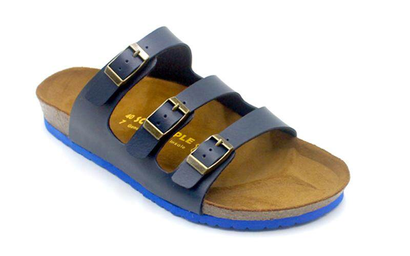 SoleSimple Ely - Blue / Casual Soft Footbed Flat Slippers & Comfortable Shoes & Sandal Shoe