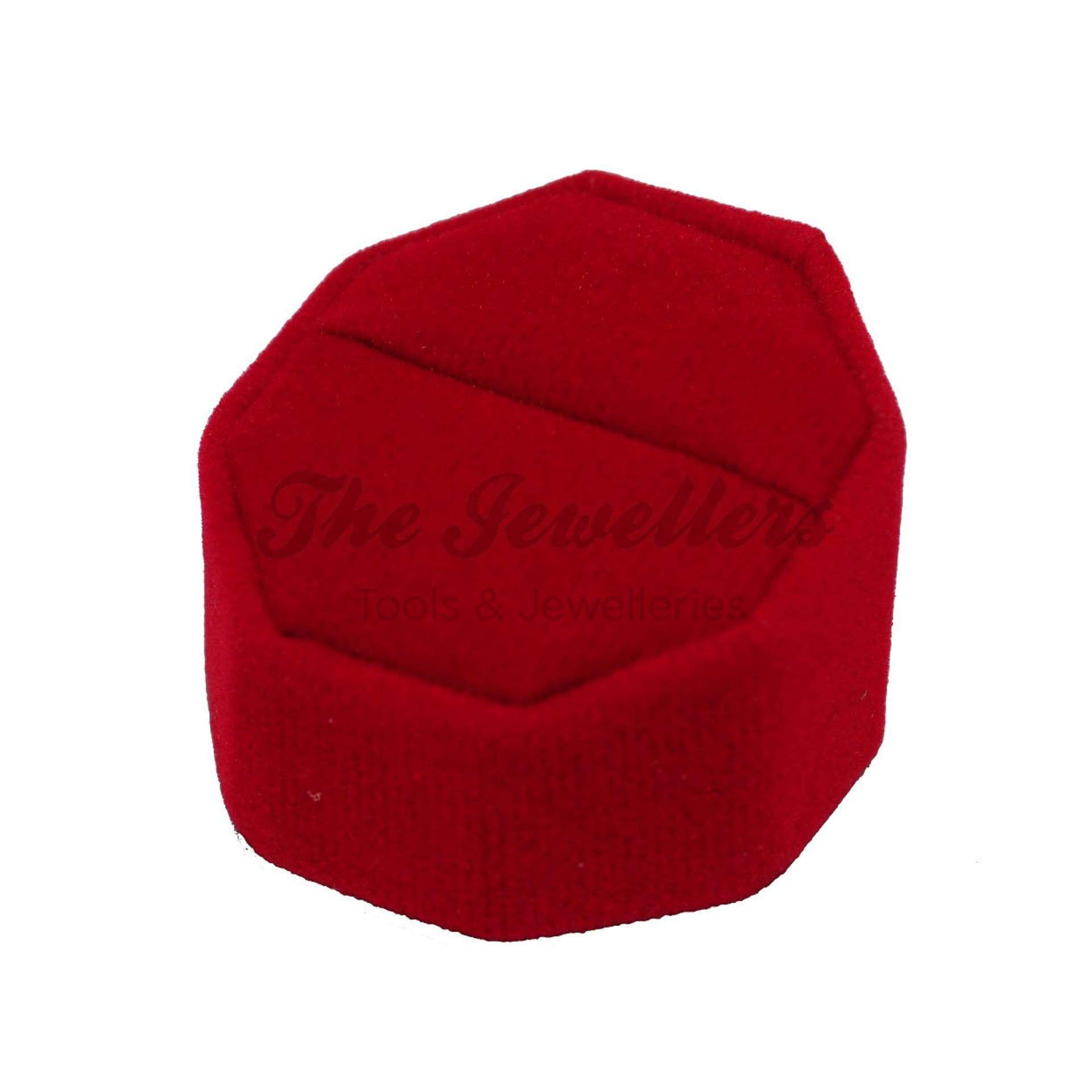 Octagon Red Velvet Ring Display Stand