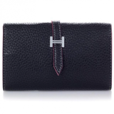 Genuine Leather H Buckle Name Card Wallet - Black