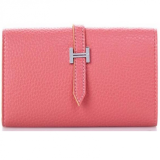Genuine Leather H Buckle Name Card Wallet - Pink