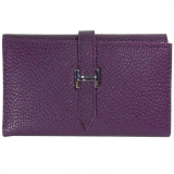 Genuine Leather H Buckle Name Card Wallet - Purple