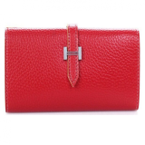 Genuine Leather H Buckle Name Card Wallet - Red