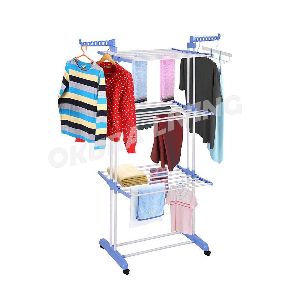 OKURA Living Quality Steel 3 Tier Large Clothes Foldable Dryer Hanging Rack