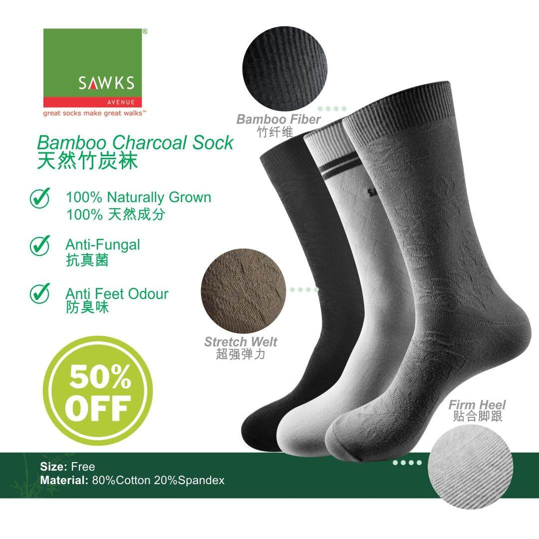 Sawks Men Bamboo Charcoal Double Cylinder Quarter Crew Socks - Embossed