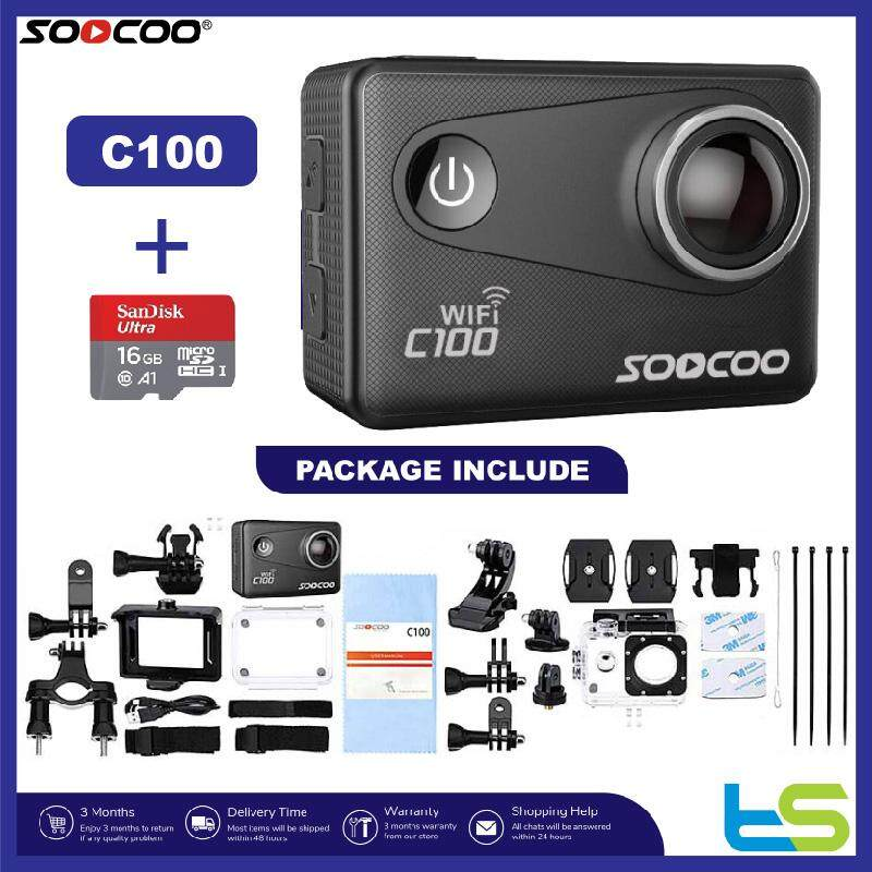 SOOCOO C100 Action Camera Waterproof 4K 20MP WiFi Built-in Gyro with GPS Extension Sports Camera View Angle Adjustable Black