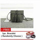 Mini Tassels Packet Messenger Sling Bag [Dark Grey] with Free 1pc. Bracelet [Randomly Choose]