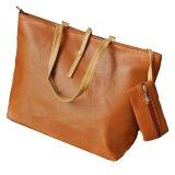PU Leather Embossed Shoulder Tote Bag with Pouch - Orange