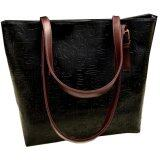 PU Leather Jazzy Tote Bag [Black]