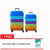 "Set of 2: 20'' + 24"" Korean Designed C Travel Hard Case Suitcase with Free 1pc Disposable Travelling Towel"