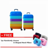 "Set Of 2: 20'' + 24"" Korean Designed C Travel Hard Case Suitcase with Free 1pc Inflatable Neck Pillow (Randomly Choose Color)"