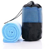 Super Smooth [100 x 30 cm] Outdoor Activities Super Smooth Microfiber Towel With Free Container Bag- Sky Blue