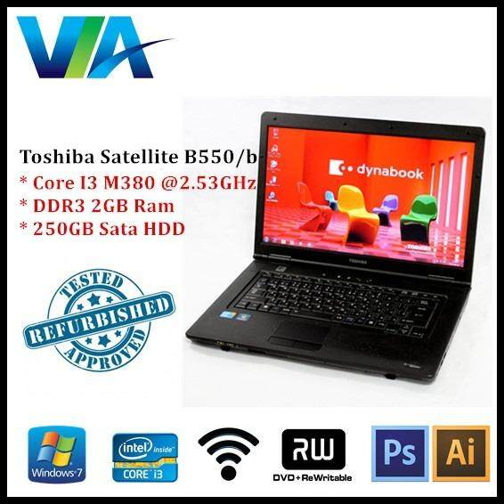 Refurbished Laptop Toshiba Satellite B550/B Core i3~2GB~250GB~Win7 Malaysia