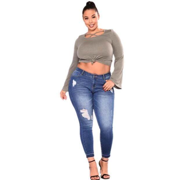 Big Size Ripped Jeans Women Clothes Ladies plus Size Pants.