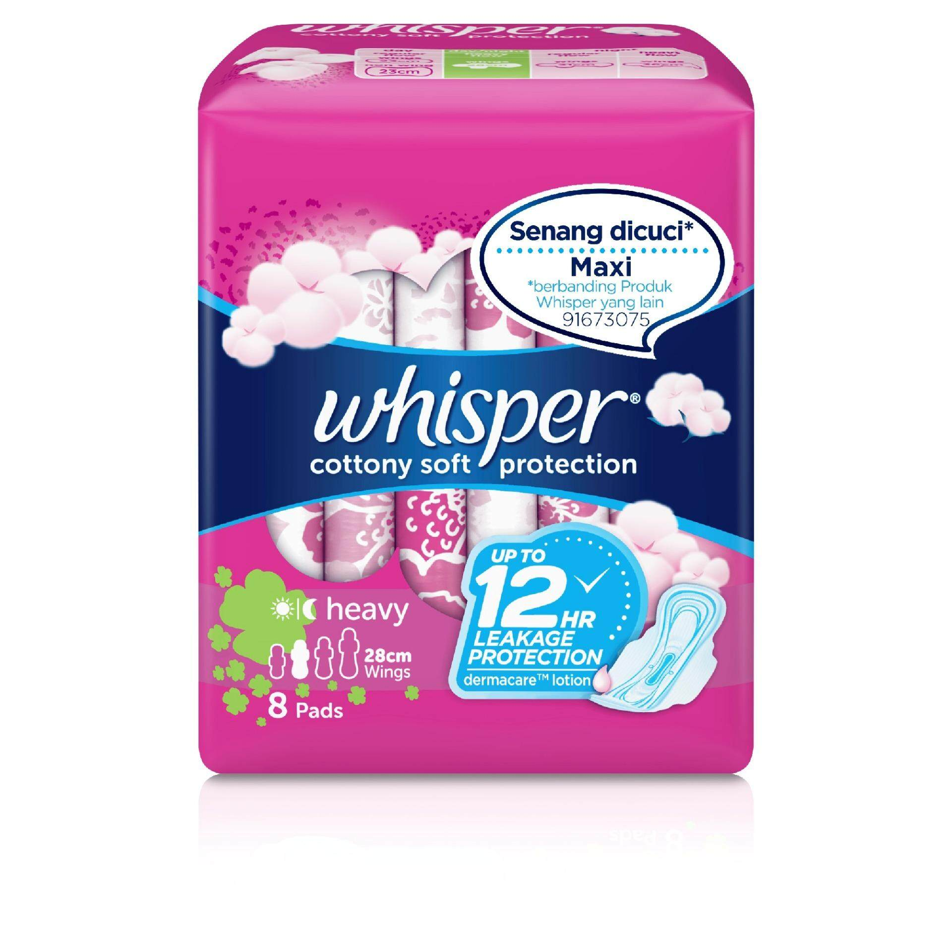Whisper Cottony Soft Protection Heavy Flow 28cm Sanitary Pads With Wings 8 pads