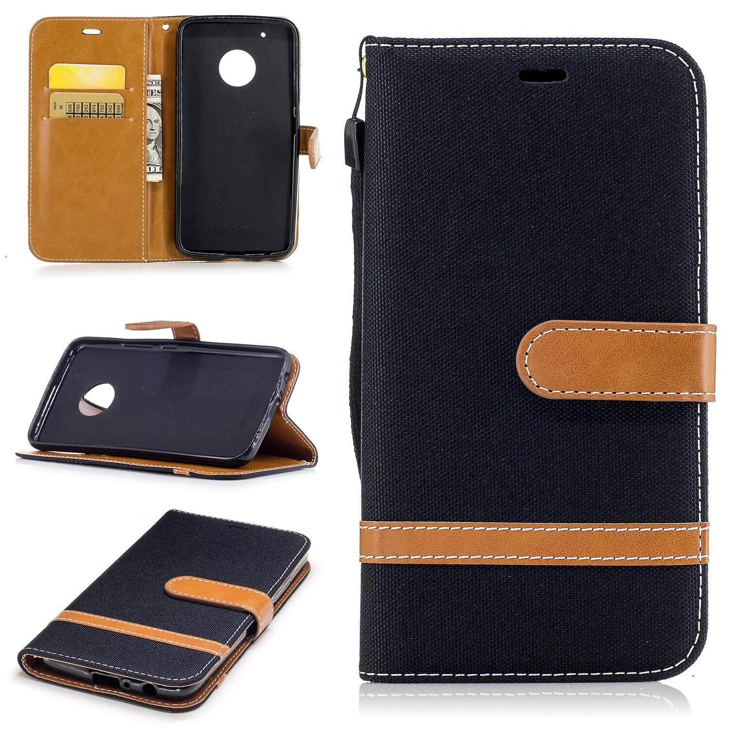 Motorola Moto G5 Plus Case,premium Jeans Style Denim And Pu Leather Filp Magnet Wallet Stand Card Slots Protective Case Cover With Hand Strap For Motorola Moto G5 Plus - Intl.