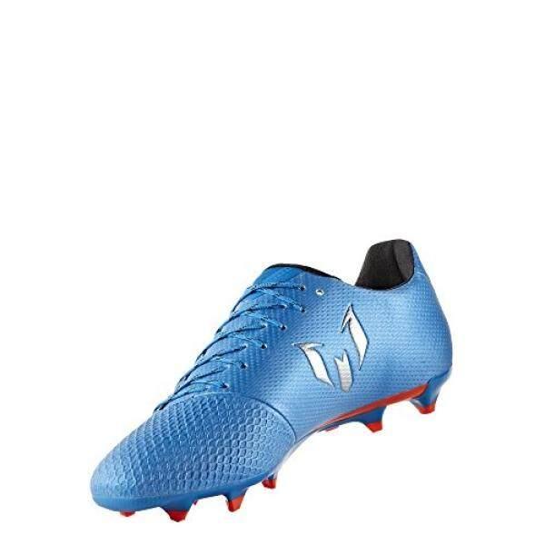 Adidas Performa Pria Messi 16.3 FG Sepatu Sepak Bola, Guncangan Biru Warna Tidak Mengkilap Perak/Hitam, AS-Internasional