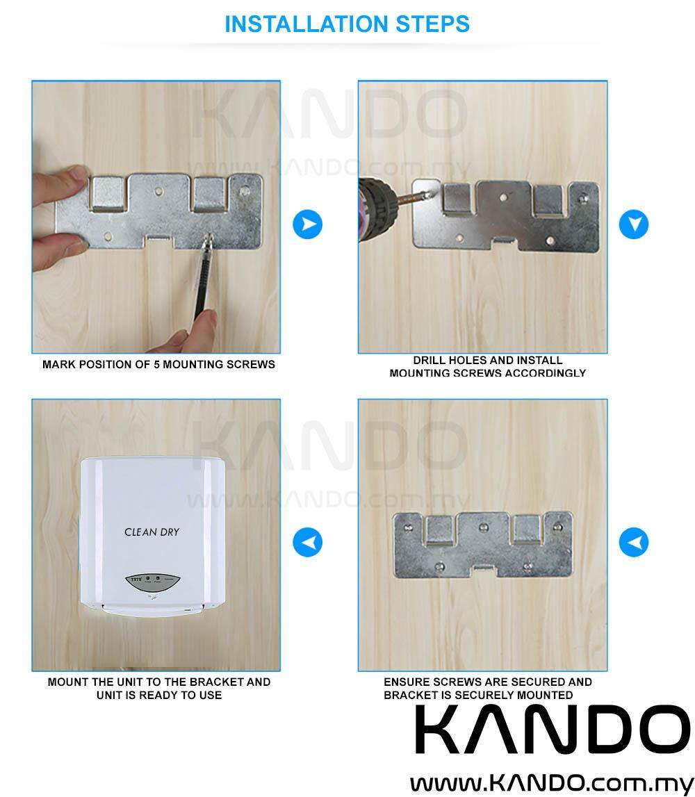 [MALAYSIA]Automatic Hand Dryer 1200W with Infrared Sensor Dual Temperature Air Drier Household Hand Drier 10 SECONDS DRYER