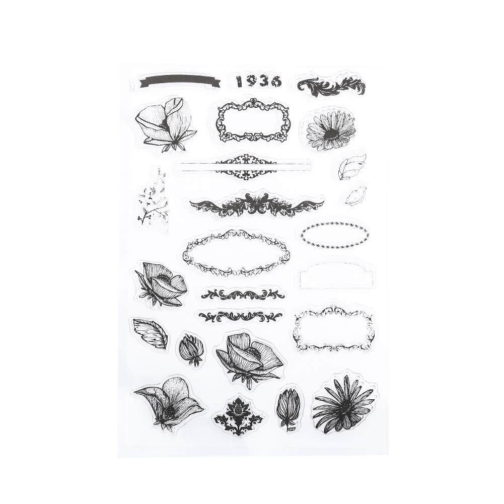 Solatube Alat Kantor Stensil Digunakan Kembali 20 Gaya Clear Stamp Dekorasi Pembuat Kartu Transparan-Internasional