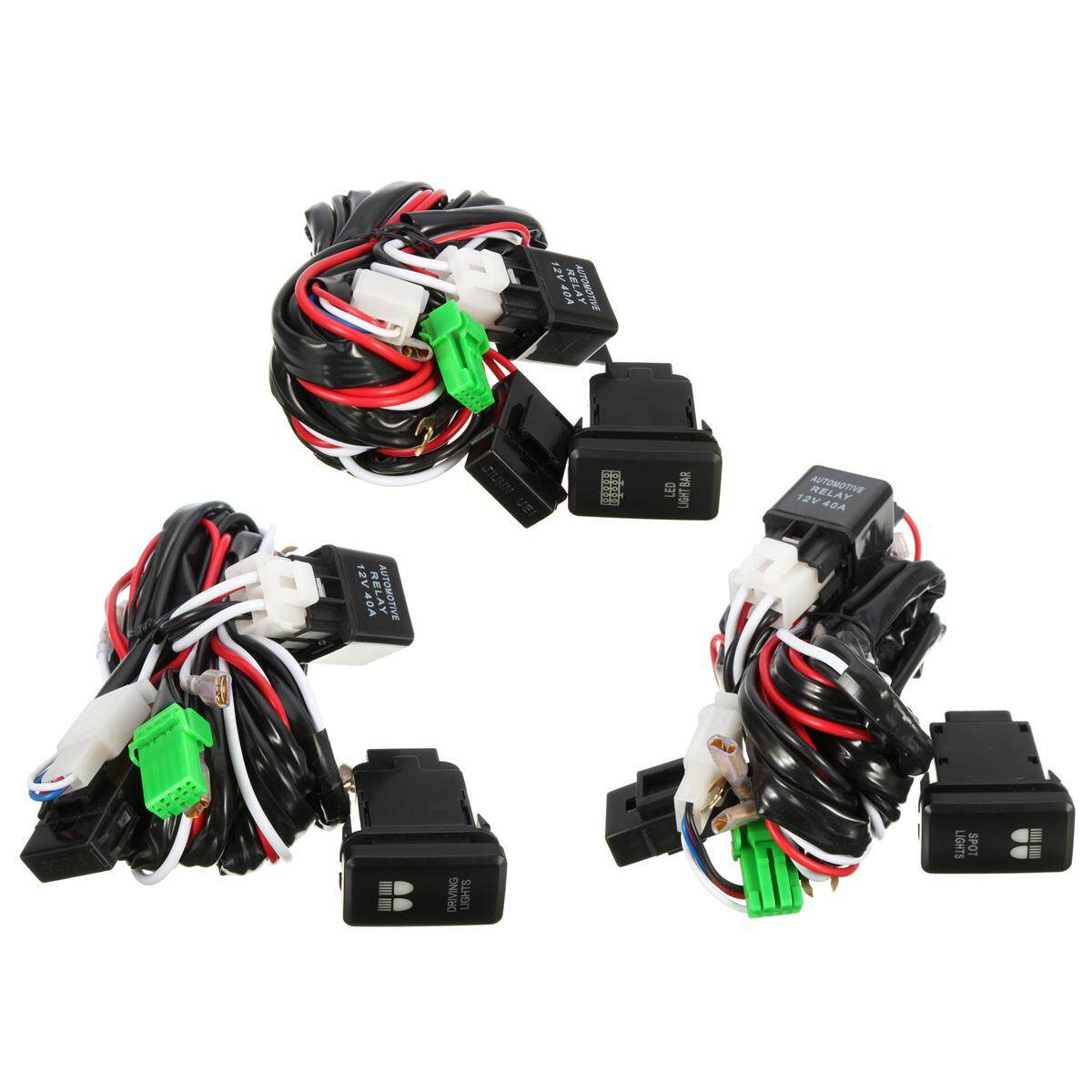 Features 40a 12v Led Driving Spot Light Bar Wiring Harness Relay For Bars Switch Toyota Atv Rear